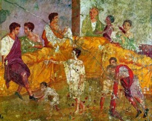 Mosaic of Roman dinner party